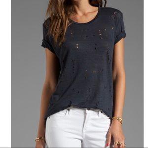Revolve IRO Clay T Shirt Black Distressed Linen M